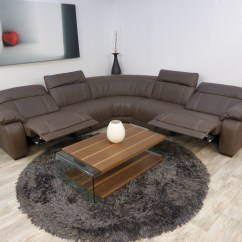 Leather Corner Sofa With Electric Recliner Small Sectional Under 300 Massiccio Italian Mocha Reclining