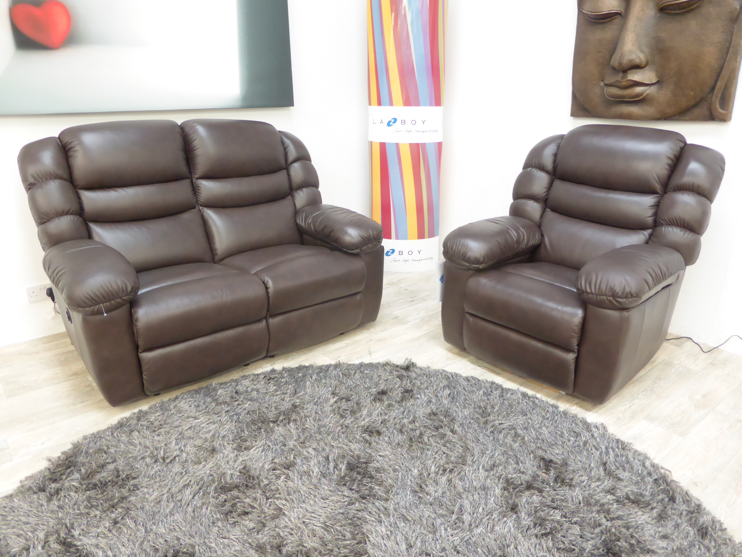 la z boy cool chair rattan ikea leather 2 seater and both electric