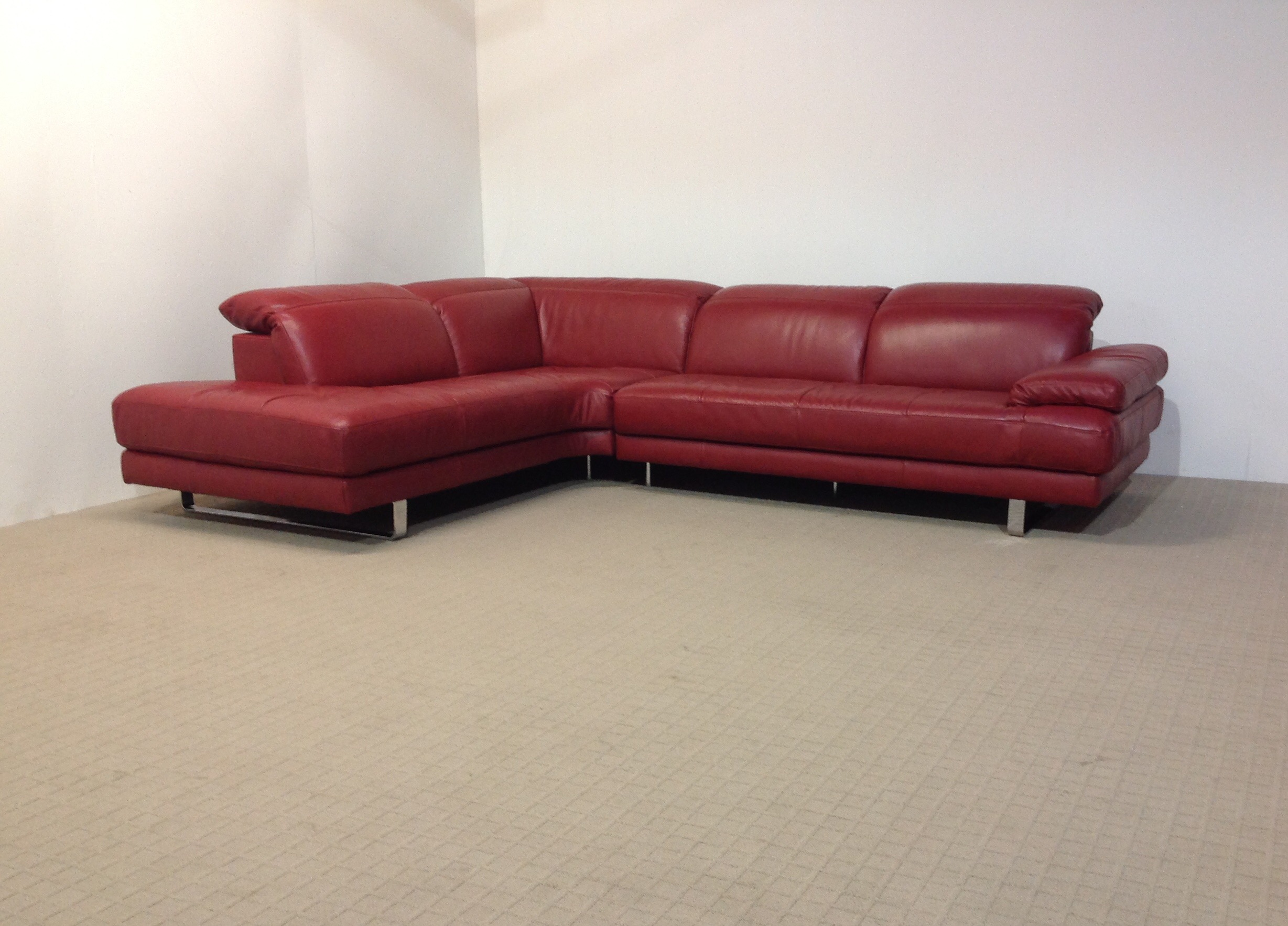 natuzzi red leather sofa and chair waterproof pet protector cover edition metropolitan ruby corner