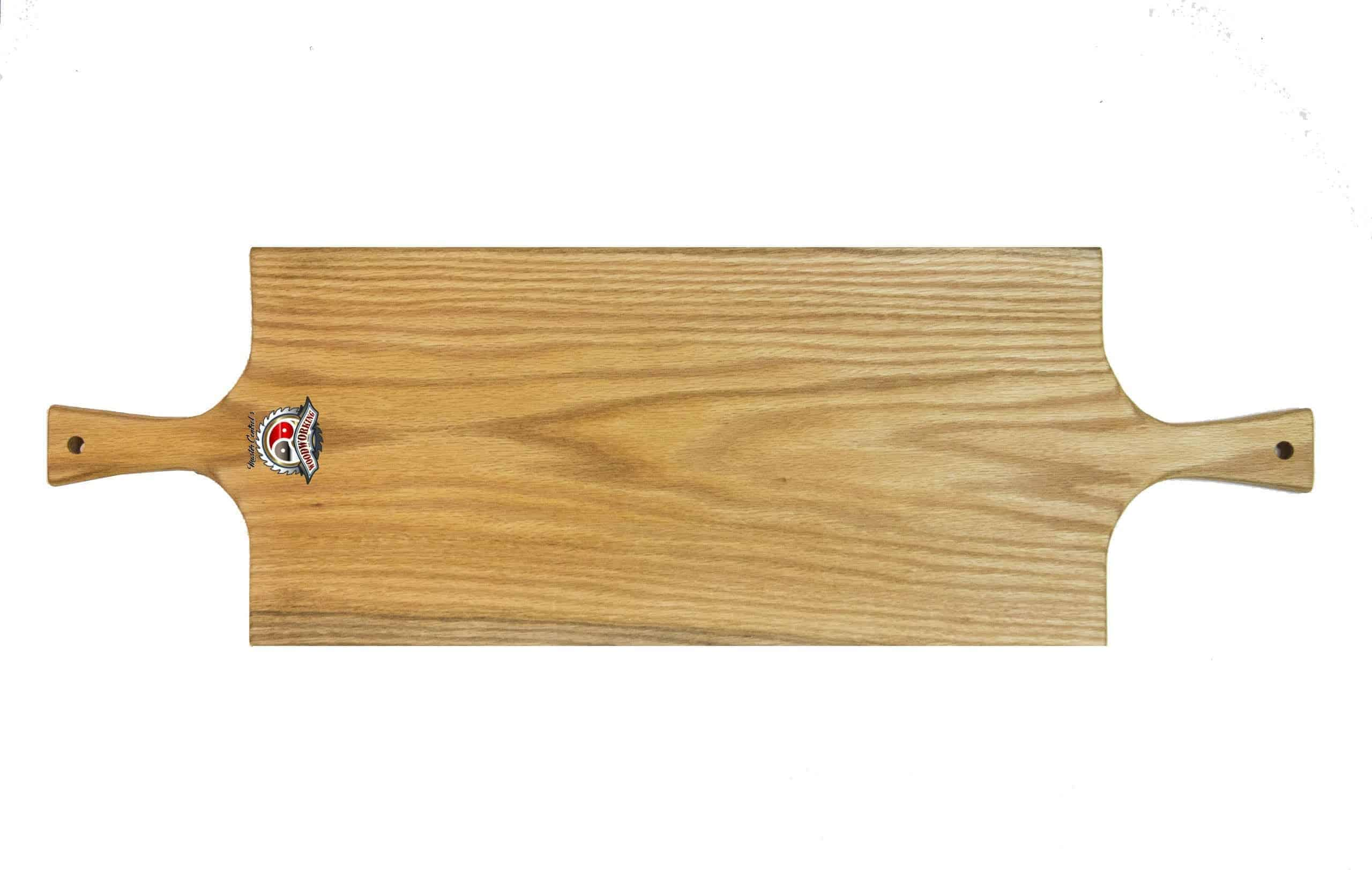 Solid Hardwood Double Handled Serving Platter Paddle / Cutting Board