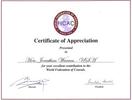 FICAC Certificate of Appreciation to Jonathan Warren