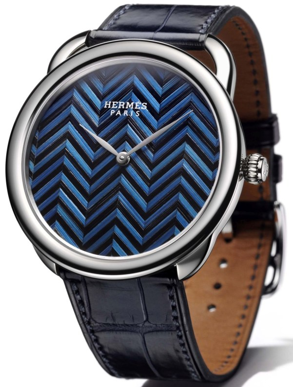 Hermès Arceau Marqueterie de Paille watch with chevrons motif