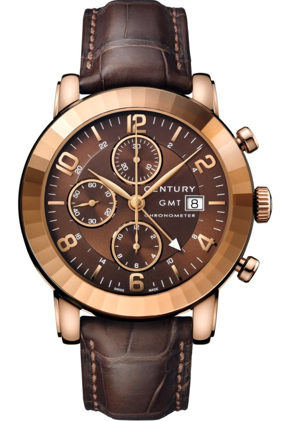 Century Elegance Chronograph GMT Red Gold watch with chocolate dial