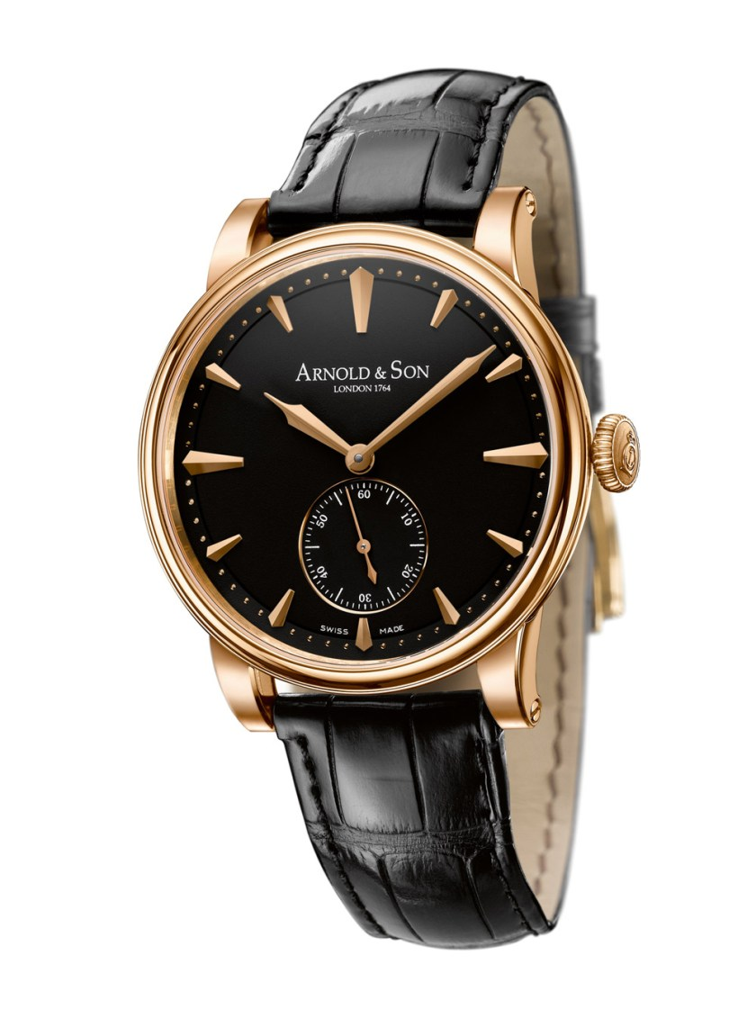 Arnold and Son HMS1 watch in rose gold case with black dial
