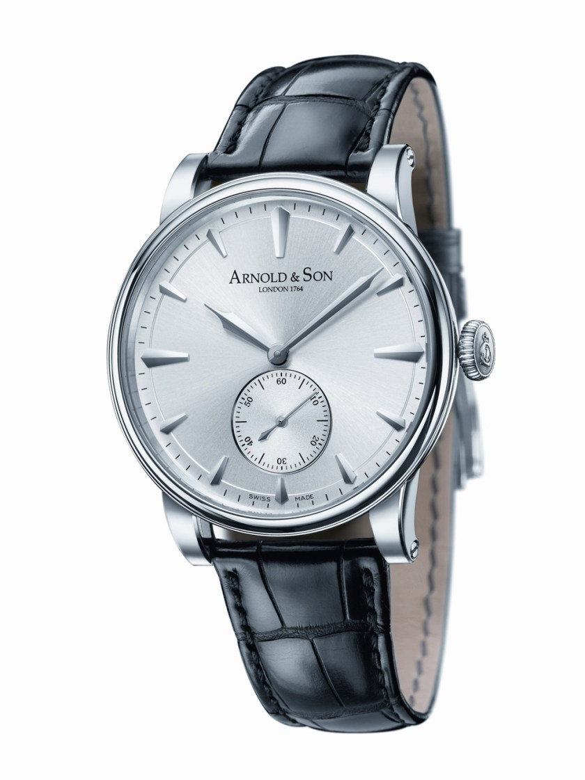 rnold and Son HMS1 watch in white gold case with Silver coloured dial dial
