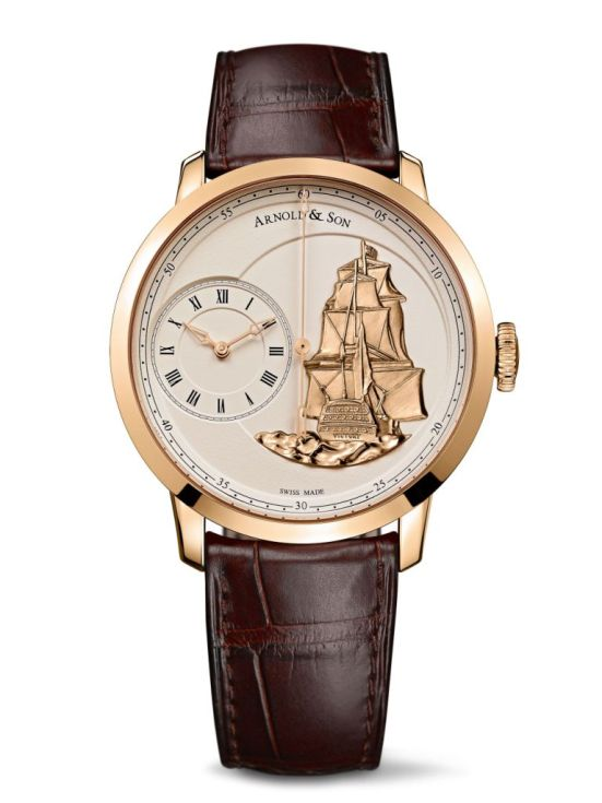 Arnold and Son TB Victory watch with rose gold case