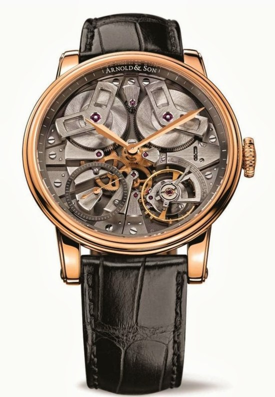 Arnold and Son TB88 watch with 18-carat rose gold case and grey open dial