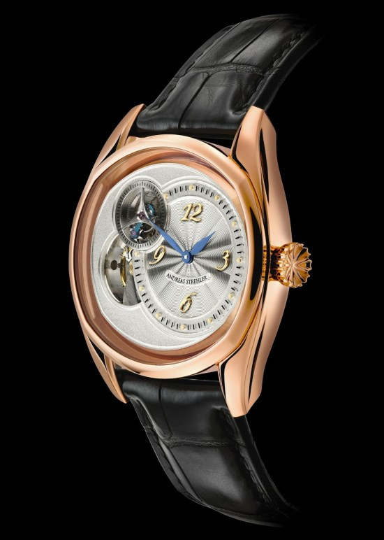 Andreas Strehler Sauterelle watch in rose gold
