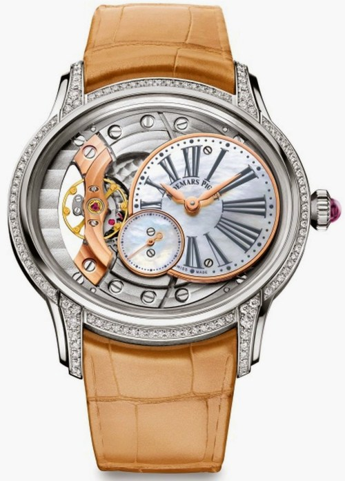 Audemars Piguet Millenary Woman 2015 collection white gold watch with diamond set bezel and lugs