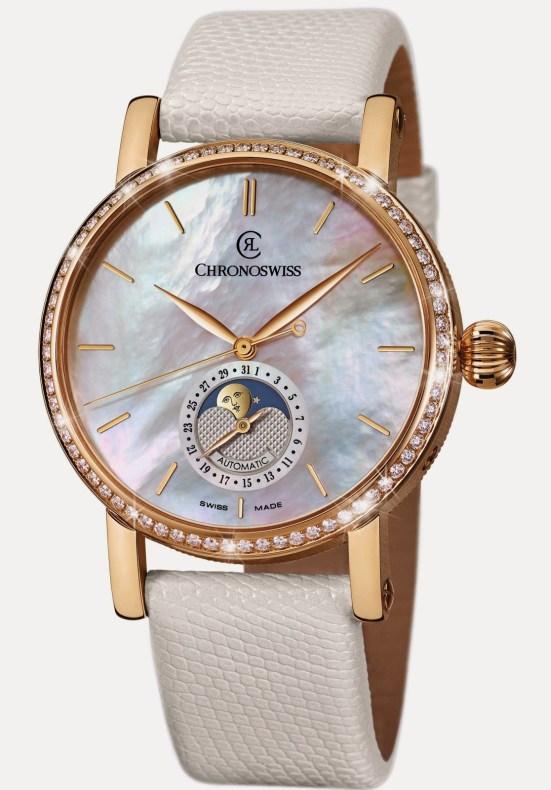 Chronoswiss Sirius Moon Phase Diamonds Automatic watch CH-8521R-MP 18-karat red gold case with diamond bezel