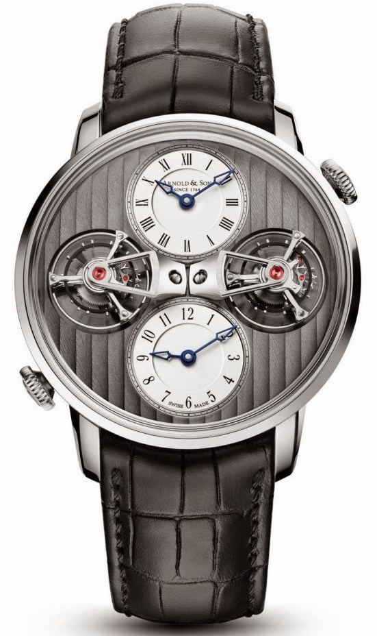 Arnold and Son DTE Limited edition watch white gold version with Silvery opaline dial