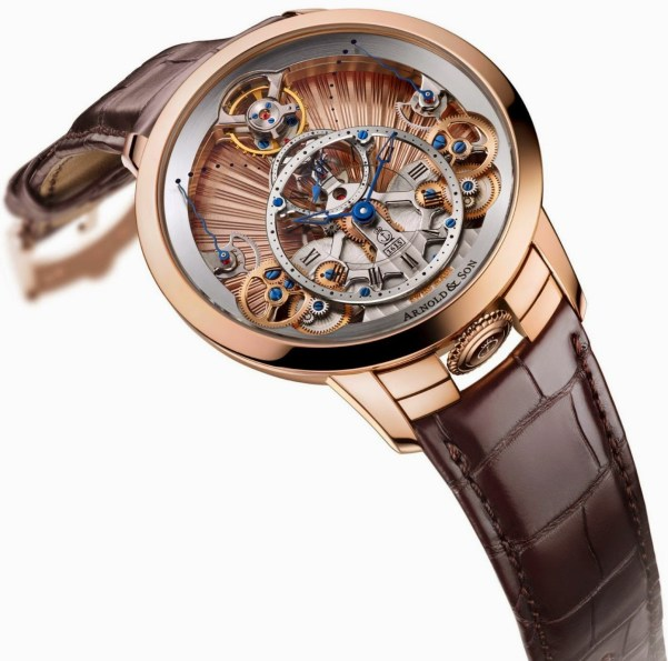 Arnold and Son Time Pyramid Guilloché watch in red gold case
