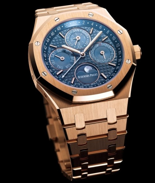 Audemars Piguet Royal Oak Perpetual Calendar with Week Indication and Astronomical Moon, 41 mm pink gold version with blue dial