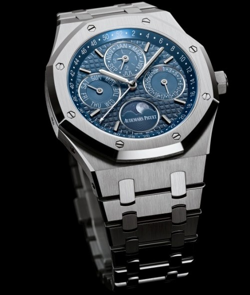 Audemars Piguet Royal Oak Perpetual Calendar with Week Indication and Astronomical Moon, 41 mm stainless steel version with blue dial