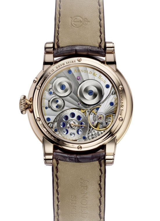 Arnold and Son HM Double Hemisphere Perpetual Moon watch with 18-karat red gold case and blue guilloché dial