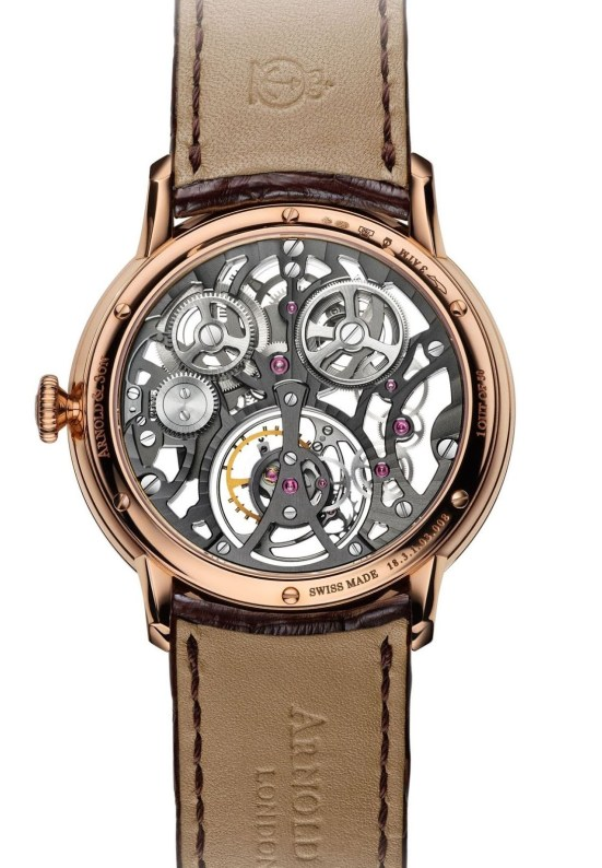 Arnold and Son UTTE Skeleton watch with red gold case