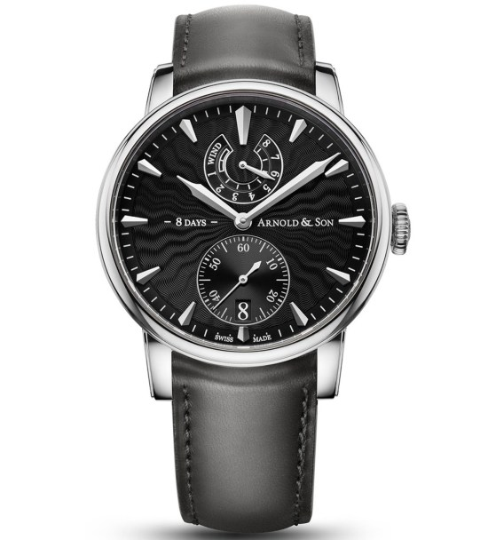 Arnold and Son Eight-Day Royal Navy Stainless steel watch with black Guilloché polished lacquer dial
