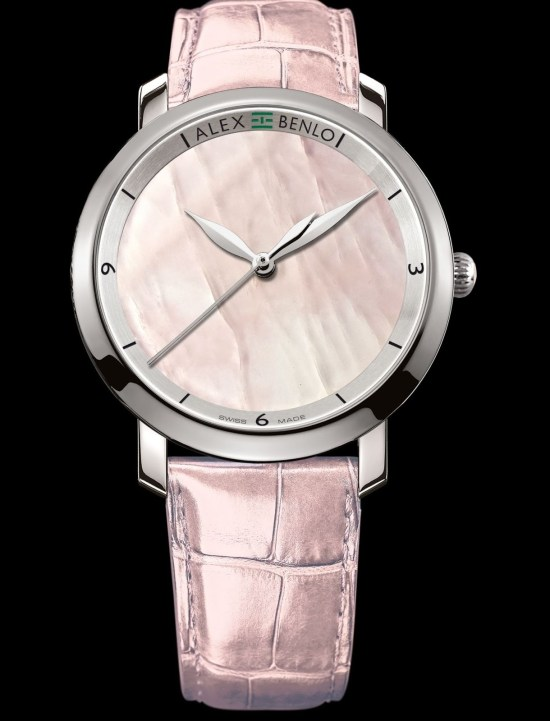 Alex Benlo Pink Quartz, Luminescent Edition, Swiss Made watch
