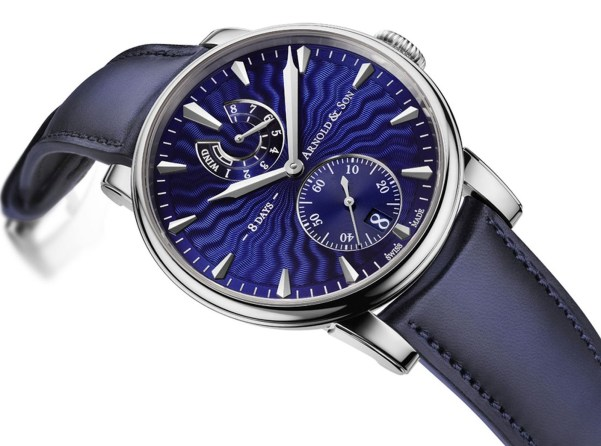 Arnold and Son Eight-Day Royal Navy Stainless steel watch with blue Guilloché polished lacquer dial