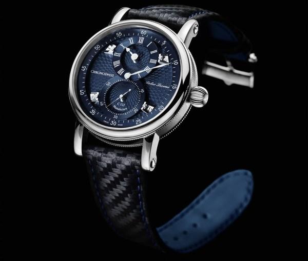 Chronoswiss Sirius Flying Regulator watch with galvanic blue dial