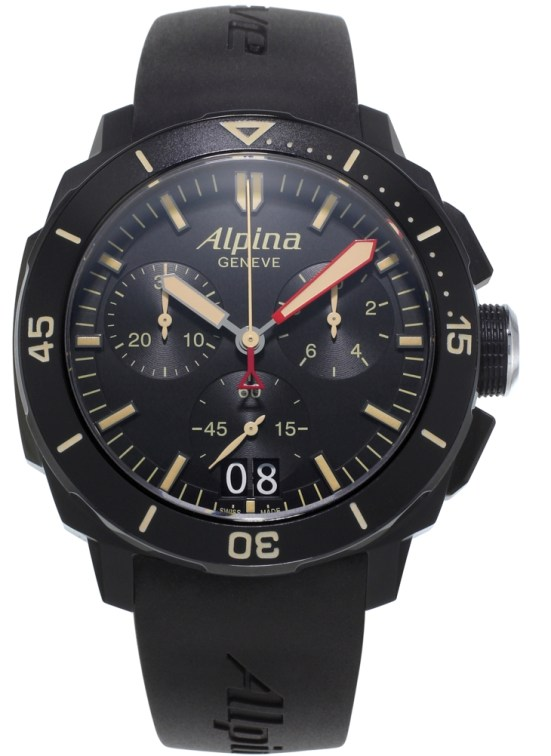 Alpina Seastrong Diver 300 Black Chronograph Big Date (All Black Version)