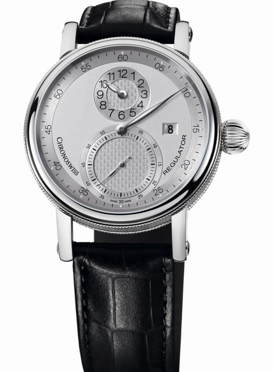 Chronoswiss Sirius Regulator Classic Date Automatic watch CH-8733-SI Stainless steel case galvanic silver dial