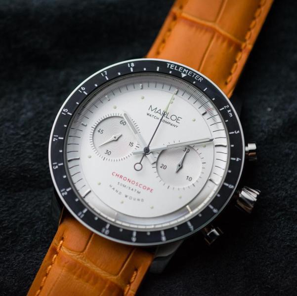 Marloe Watch Company Lomond Chronoscope with classic white dial