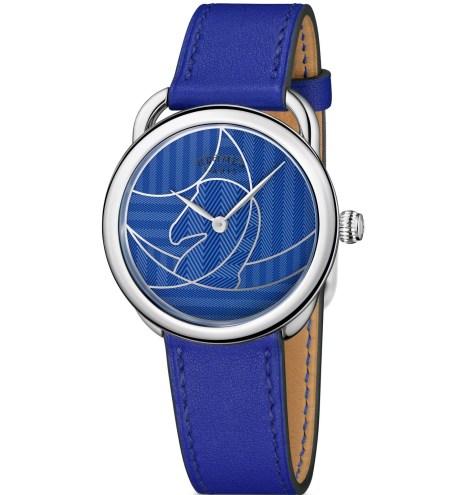 Hermès Arceau Casaque watch blue dial with Electric blue strap