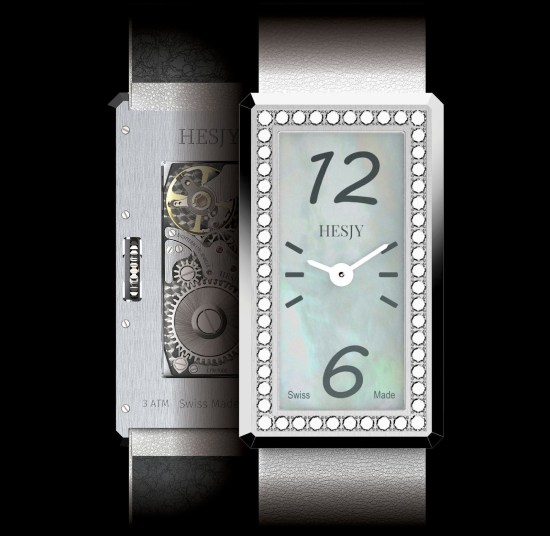 HESJY elle-one diamond set watch with mother of pearl dial
