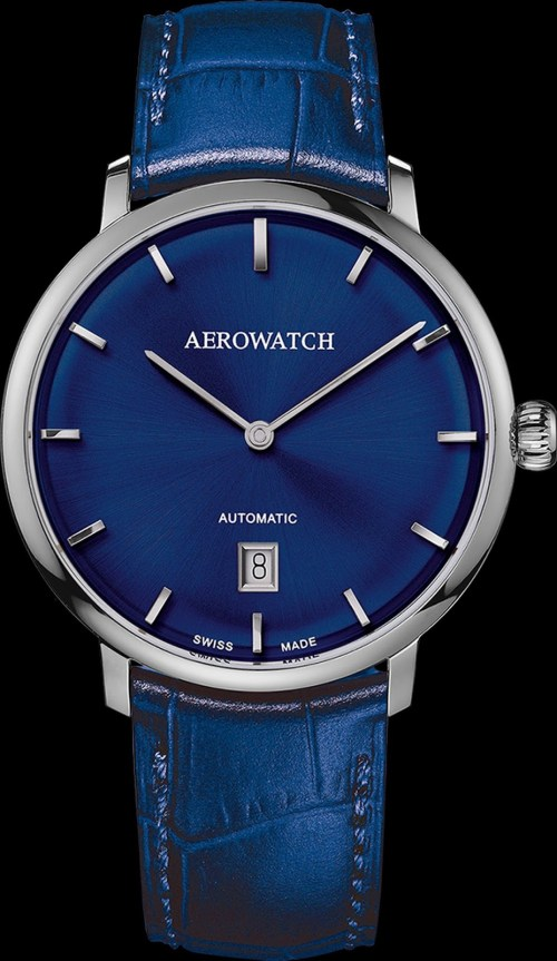 Aerowatch Héritage Slim Swiss made automatic watch with blue dial and blue strap