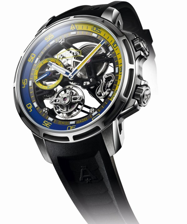 Angelus U50 Diver Tourbillon watch with grade-5 titanium case