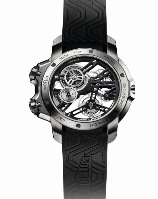 Angelus U50 Diver Tourbillon watch with grade-5 titanium case rear view