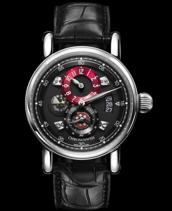 Chronoswiss Flying Regulator Night and Day watch CH-8763-BKRE Stainless steel case galvanic black dial