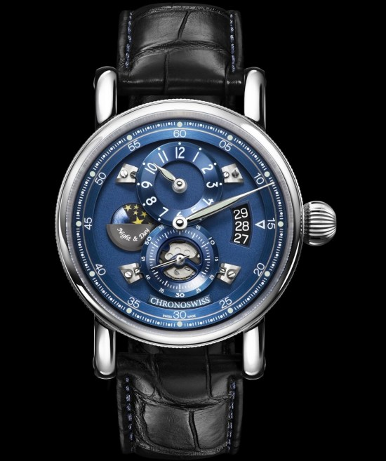 Chronoswiss Flying Regulator Night and Day watch CH-8763-BLBL Stainless steel case galvanic blue dial