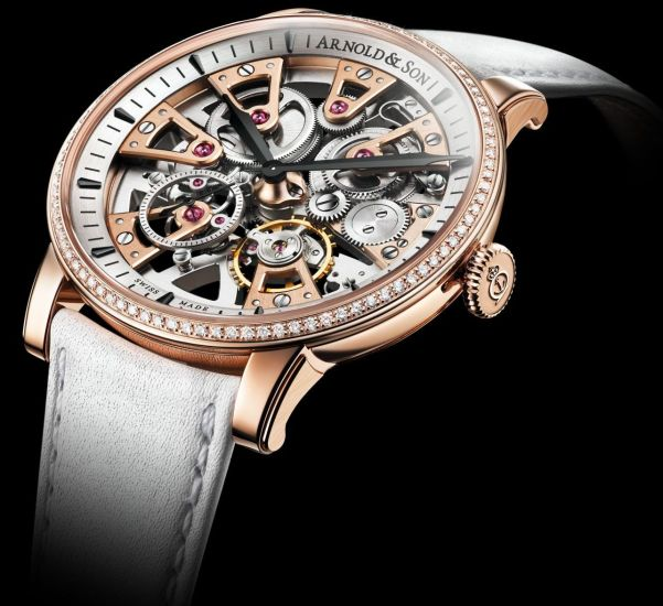 Arnold and Son Nebula Lady watch red gold with diamond set case