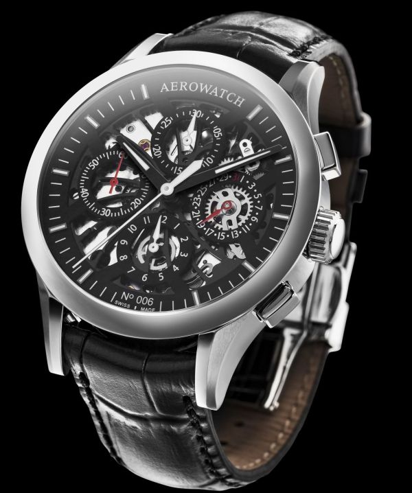AEROWATCH Les Grandes Classiques Self-Winding Semi-Skeleton Chronograph Ref. A 61968 AA05 SQ Numbered Edition