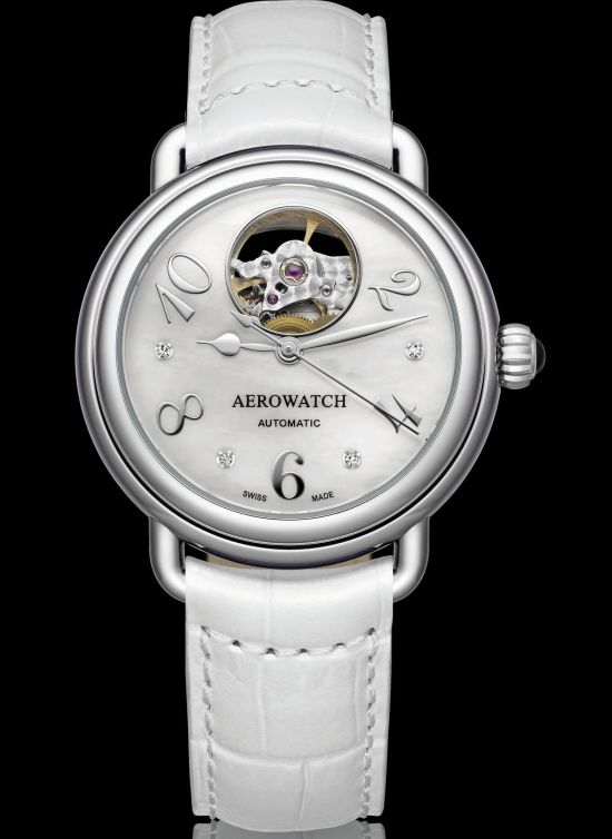 Aerowatch 1942 Collection Automatique Impulse - Ref. A 68922 AA01 ladies watch open-heart dial