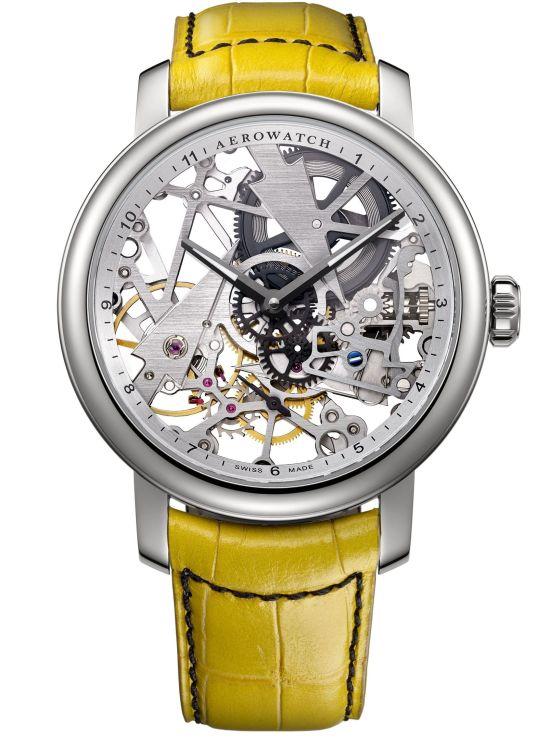 Aerowatch Renaissance Fir Tree Ref. A 50931 AA01 RN hand-wound skeleton watch yellow strap