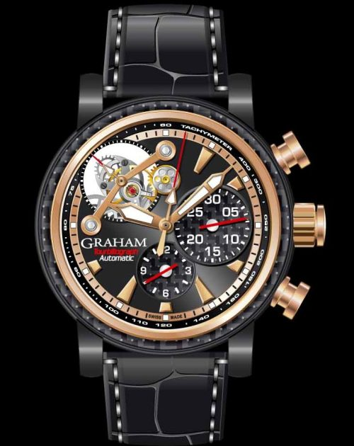 Graham Tourbillograph Woodcote Limited Edition watch with red gold and black pvd carbide case