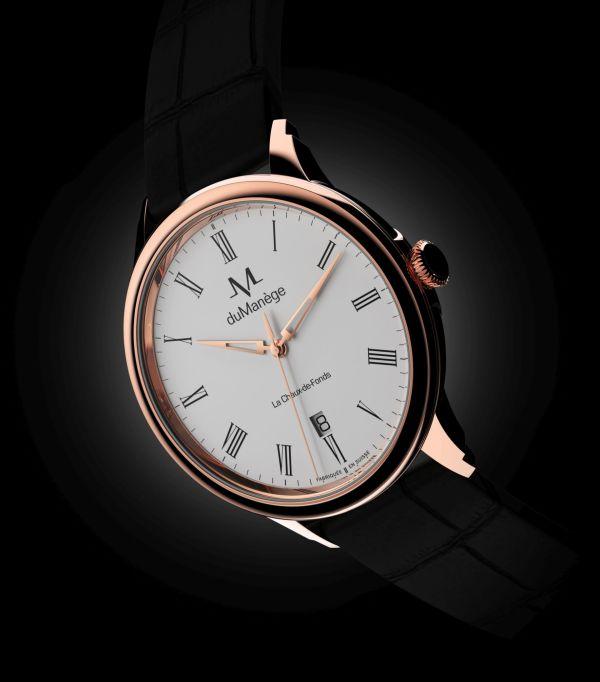 du Manège DM-Heritage gold watch white enamel dial