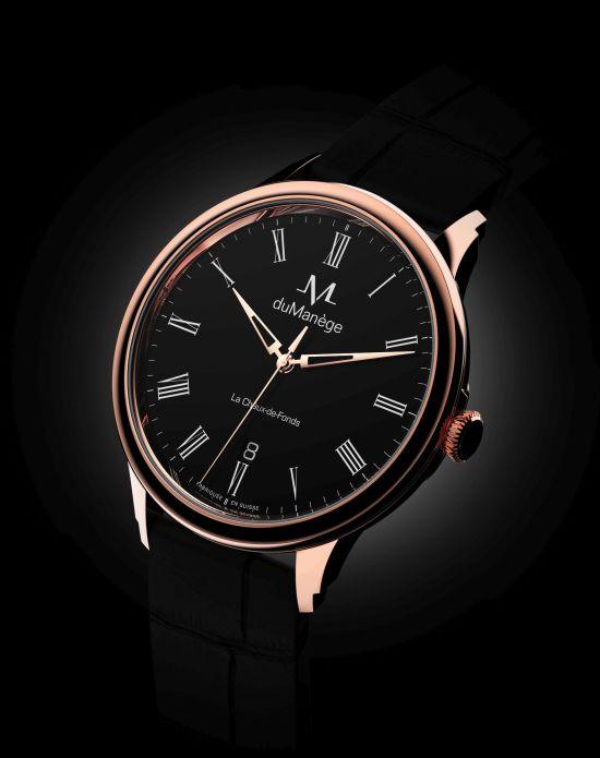 du Manège DM-Heritage gold watch black enamel dial