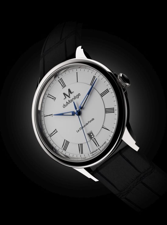 du Manège DM-Heritage steel watch with white opaline dial