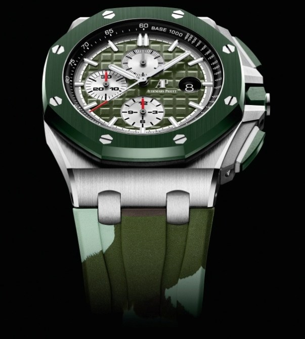 Audemars Piguet Royal Oak Offshore Self-winding Chronograph 44mm Stainless steel model with Khaki green dial and khaki green ceramic bezel