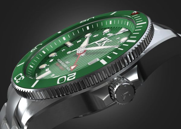 Zahnd & Kormann ZK No. 2 Automatic GMT / Diver Watch with green bezel and green dial