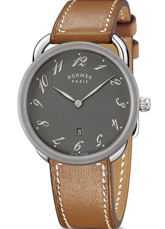 Hermès Arceau 78 stainless steel watch with Grained anthracite dial