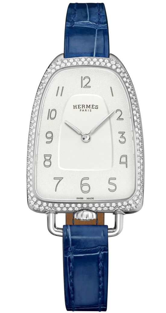 Hermès Galop d'Hermès watch with diamond set stainless steel case grained silvered dial