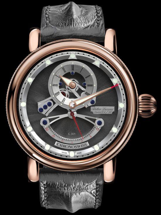 Chronoswiss Flying Grand Regulator Open Gear Retrograde Second watch CH-6921R-GRSI 18-karat red gold case galvanic grey dial
