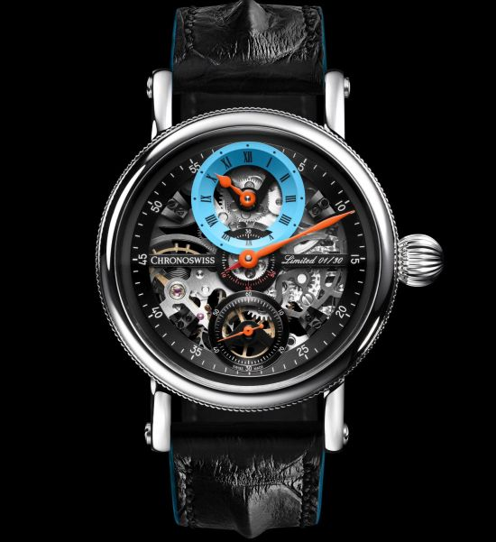 Chronoswiss Flying Grand Regulator Skeleton 2019 Limited Edition watch CH-6723S-BLSIB Stainless steel, blue and silver dial