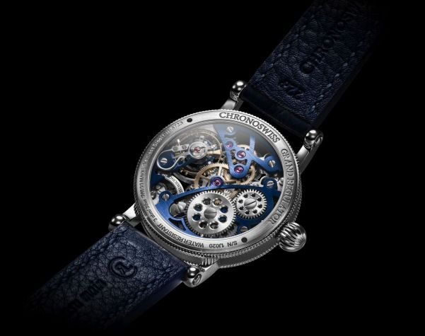 Chronoswiss Flying Grand Regulator Skeleton 2019 Limited Edition watch CH-6723S-BKLB Stainless steel, black and blue dial