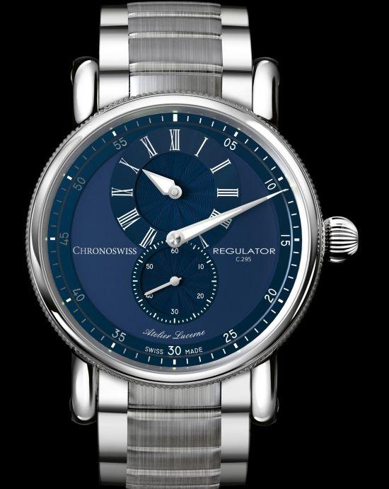 Chronoswiss New Regulator Classic watch with galvanic blue dial